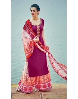 Office Wear Dark Pink Palazzo Suit - 7010