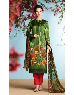 Office Wear Green & Red Palazzo Suit - 6901