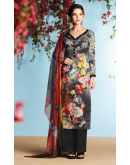 Office Wear Black Pure Georgette Palazzo Suit - 6906