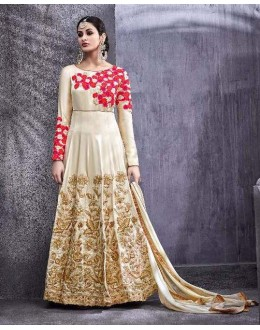 Festival Wear Off White Swiss Shadow Anarkali Suit - 6771