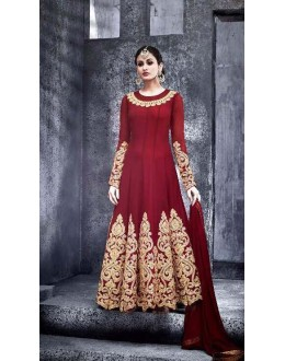 Wedding Wear Maroon Pure Georgette Anarkali Suit - 6776