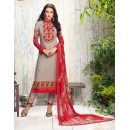 Party Wear Grey & Red Georgette Salwar Suit - 406