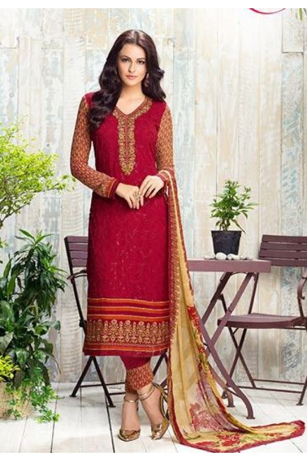 Festival Wear Red & Beige Georgette Salwar Suit - 408