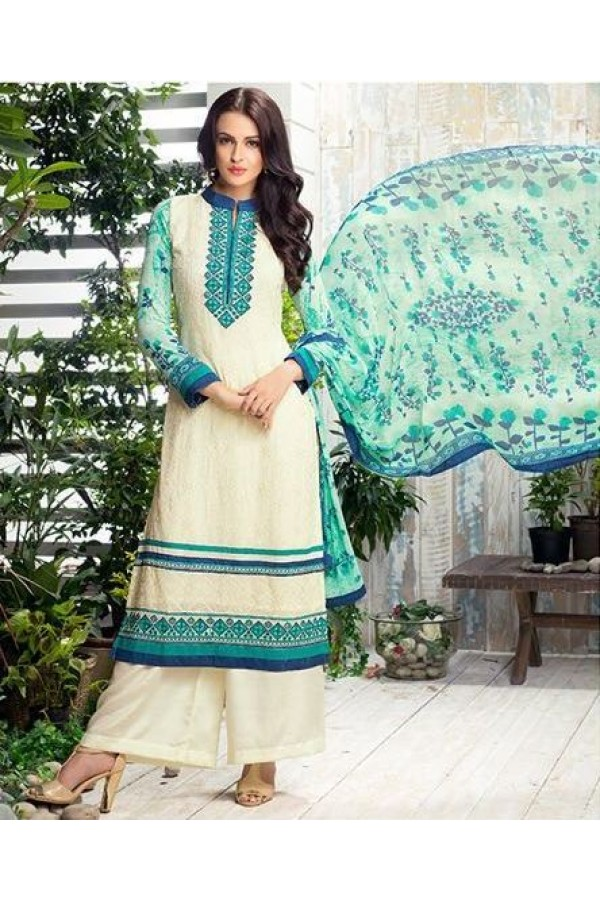 Ethnic Wear Cream & Green Georgette Palazzo Suit - 409