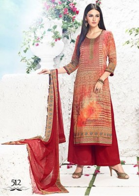 Ethnic Wear Red Satin Palazzo Suit - 512