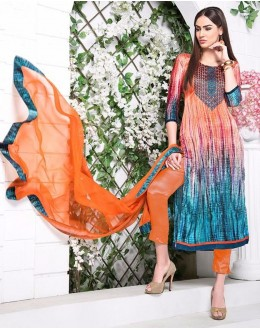Ethnic Wear Multi-Colour Utra Japan Satin Salwar Suit  - 900