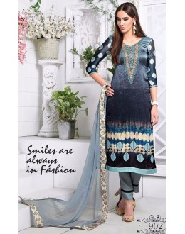 Festival Wear Black & Grey Utra Japan Satin Salwar Suit  - 902