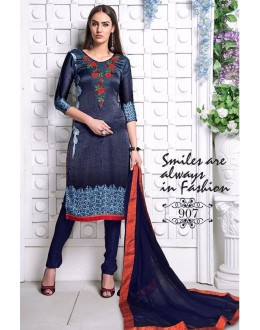 Festival Wear Blue Utra Japan Satin Salwar Suit  - 907
