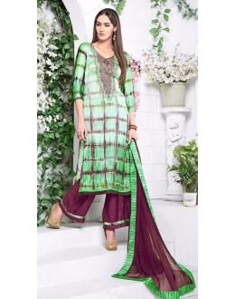 Ethnic Wear Green Utra Japan Satin Palazzo Suit  - 905