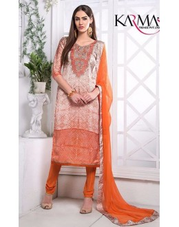 Party Wear Orange Utra Japan Satin Salwar Suit  - 903