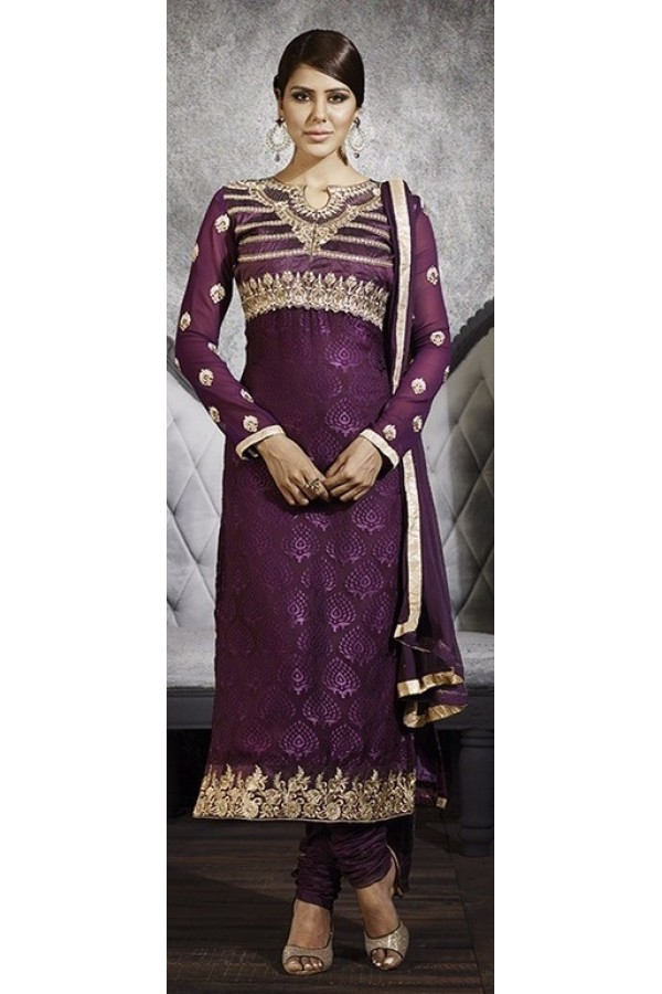 Party Wear Purple Brasso Salwar Suit - 3060