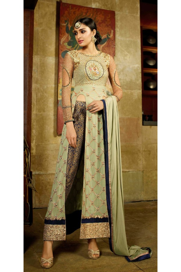 Party Wear Green Georgette Salwar Suit - 9101