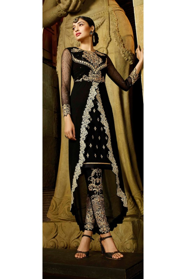 Party Wear Black Georgette Salwar Suit - 9104