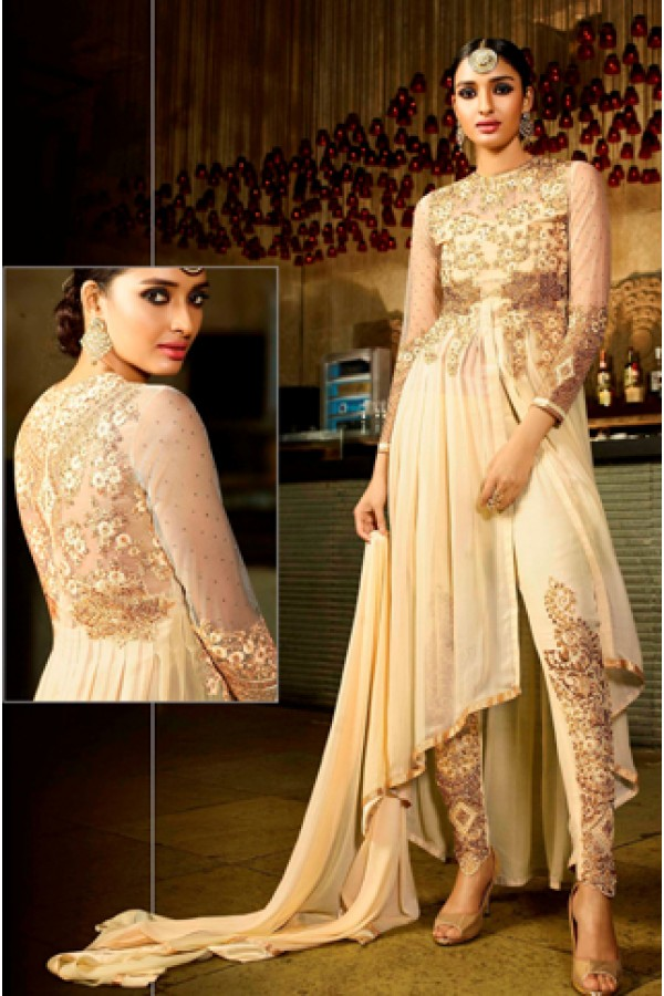 Party Wear Beige Georgette Salwar Suit - 9105