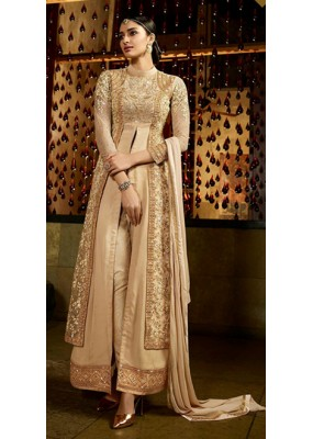 Party Wear Beige Royal Georgette Salwar Kameez - 9803