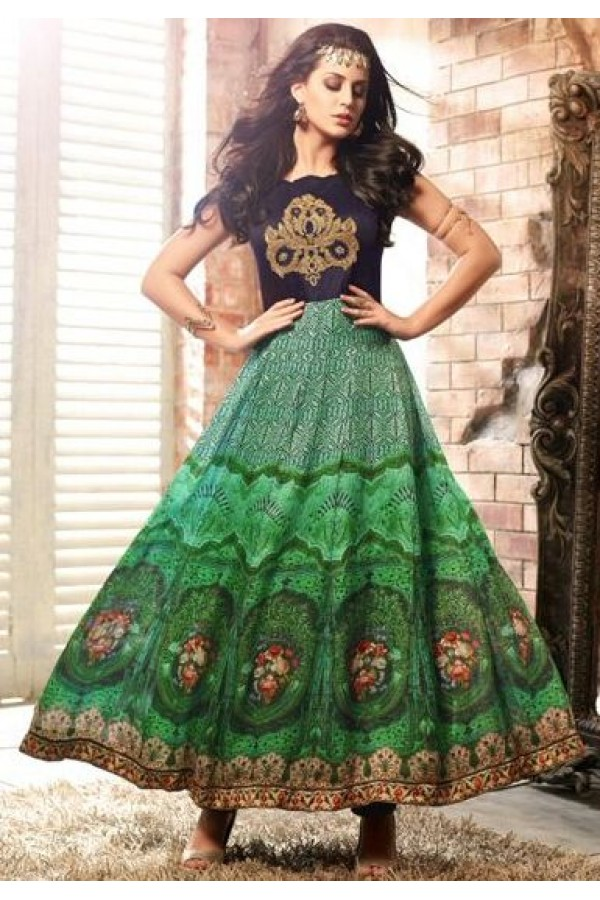 Party Wear Blue & Green Pure Satin Anarkali Suit - 3403