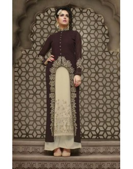 Festival Wear Coffee & White Georgette Palazzo Suit - 21007