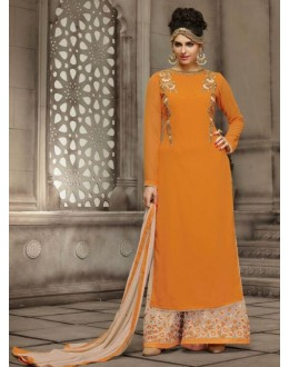 Ethnic Wear Orange & Cream Georgette Palazzo Suit - 21009