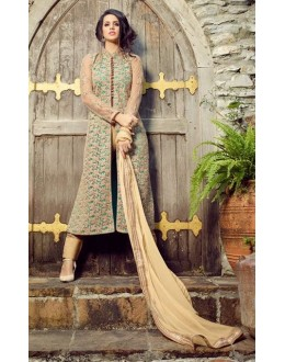 Wedding Wear Beige Net Slit Salwar Suit  - 32004