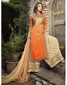 Designer Orange & Cream Georgette Palazzo Suit  - 32005