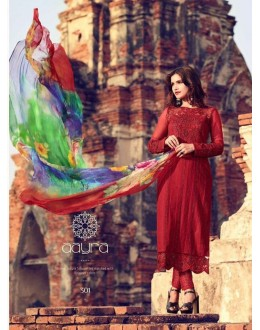 Festival Wear Red Premium Cotton Satin Salwar Suit - 301