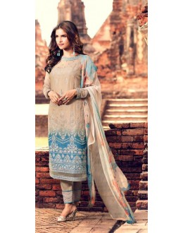 Casual Wear Multi Colour Premium Cotton Satin Salwar Suit - 307