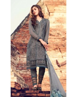 Wedding Wear Grey Premium Cotton Satin Salwar Suit - 310