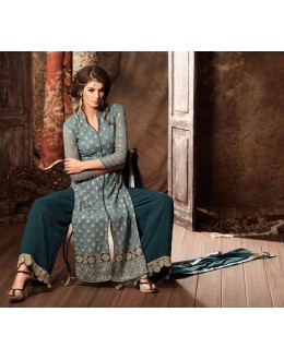 Ethnic Wear Sea Blue Georgette Palazzo Suit - 34002-A