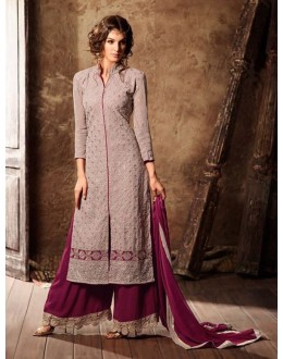 Party Wear Grey Georgette Palazzo Suit - 34002-B
