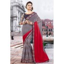Ethnic Wear Grey & Red Brasso Saree  - 9432