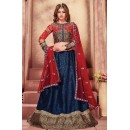 Navratri Special Blue & Red Fancy Lehenga Choli - 1153