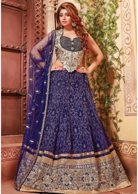Ethnic Wear Blue & Grey Fancy Lehenga Choli - 1154