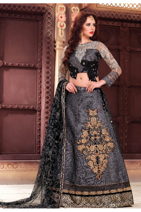 Designer Grey & Black Fancy Embroidered Lehenga Choli - 1160