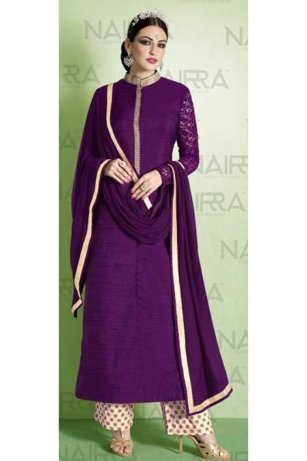 Party Wear Purple Bhagalpuri Salwar Suit - 1010-B