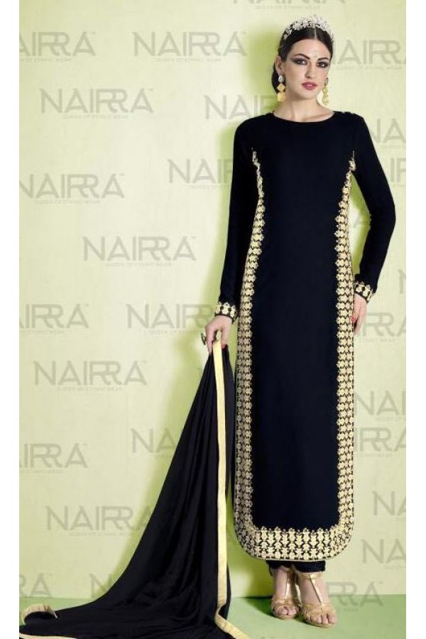 Party Wear Black Georgette Salwar Suit - 1011-A