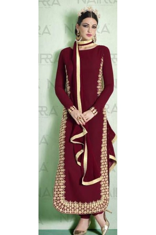 Party Wear Maroon Georgette Salwar Suit - 1011-B