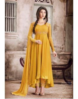 Party Wear Mustard Yellow Georgette Anarkali Suit - 1029A