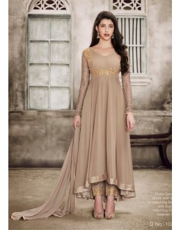 Festival Wear Chickoo Georgette Anarkali Suit - 1029B