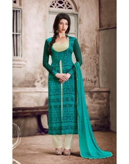 Ethnic Wear Green Satin Salwar Suit  - 1030A