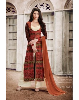 Office Wear Brown Satin Salwar Suit  - 1030B