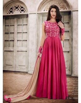 Festival Wear Pink Handloom Silk Anarkali Suit - 1032B