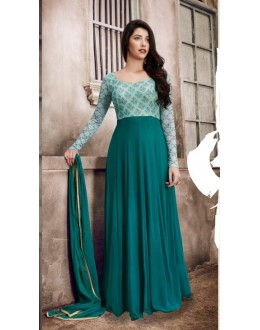 Party Wear Green Georgette Cepe Anarkali Suit - 1033A