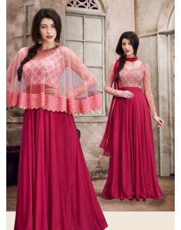 Festival Wear Maroon Georgette Cape Anarkali Suit - 1033B