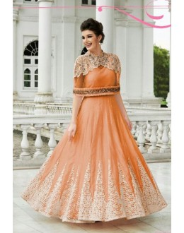 Fancy Orange Raw Silk Embroidered Gown - 152