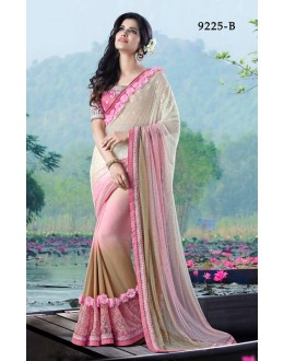 Party Wear Pink Chiffon Saree - 9225-B