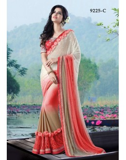 Festival Wear Red Chiffon Saree - 9225-C