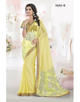 Party Wear Lemon Chiffon Saree - 9456-B