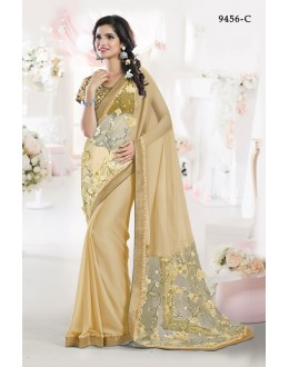 Festival Wear Chickoo Chiffon Saree - 9456-C