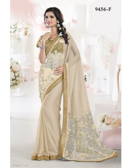 Ethnic Wear Beige Chiffon Saree - 9456-F