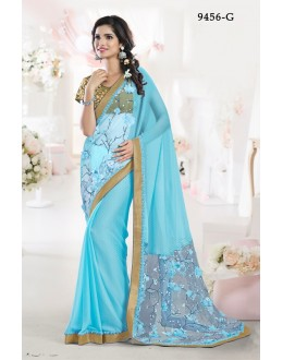 Party Wear Firozi Chiffon Saree - 9456-G